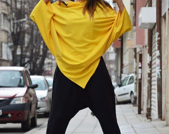 Cotton Yellow Tunic, Maxi Tunic Tops for Women's, Asymmetrical Tunic Тоp, Plus Size Zipper Top, Oversize Tunic by SSDfashion