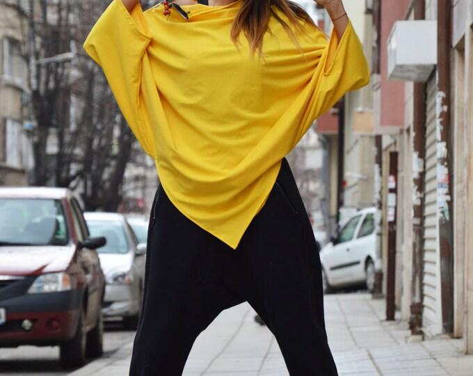 Yellow Asymmetrical Tunic, Extravagant Loose Tunic Тоp, Plus Size Zipper Top, Maxi Cotton Tunic by SSDfashion