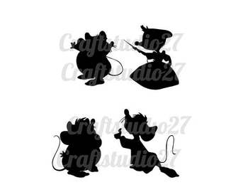 Digital download Cinderella mice 4 silhouettes for Cameo, Cricut and print. SVG, PDF, and PNG and studiofile.