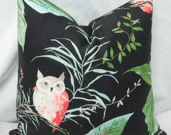 Decorative Pillow Cover with Kravet - Owlish in Black Kate Spade Fabric / 18 x 18 / Designer Linen Fabric