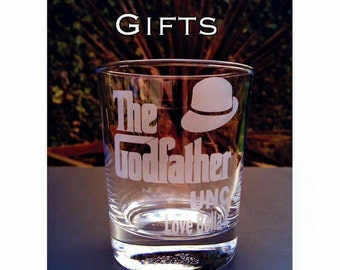 The Godfather Engraved Tumbler Glass - Christening Gift - Handmade