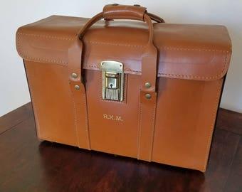 Vintage Large Top Grain Cowhide Cognac Attorney Briefcase