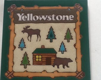 Art Tile~6 In by 6 in~Yellowstone National Park~Vintage Ceramic ArtTile~Woodsy Tile~Hang or use as Trivet~Perfect Condition~Cabin Decor~Tile