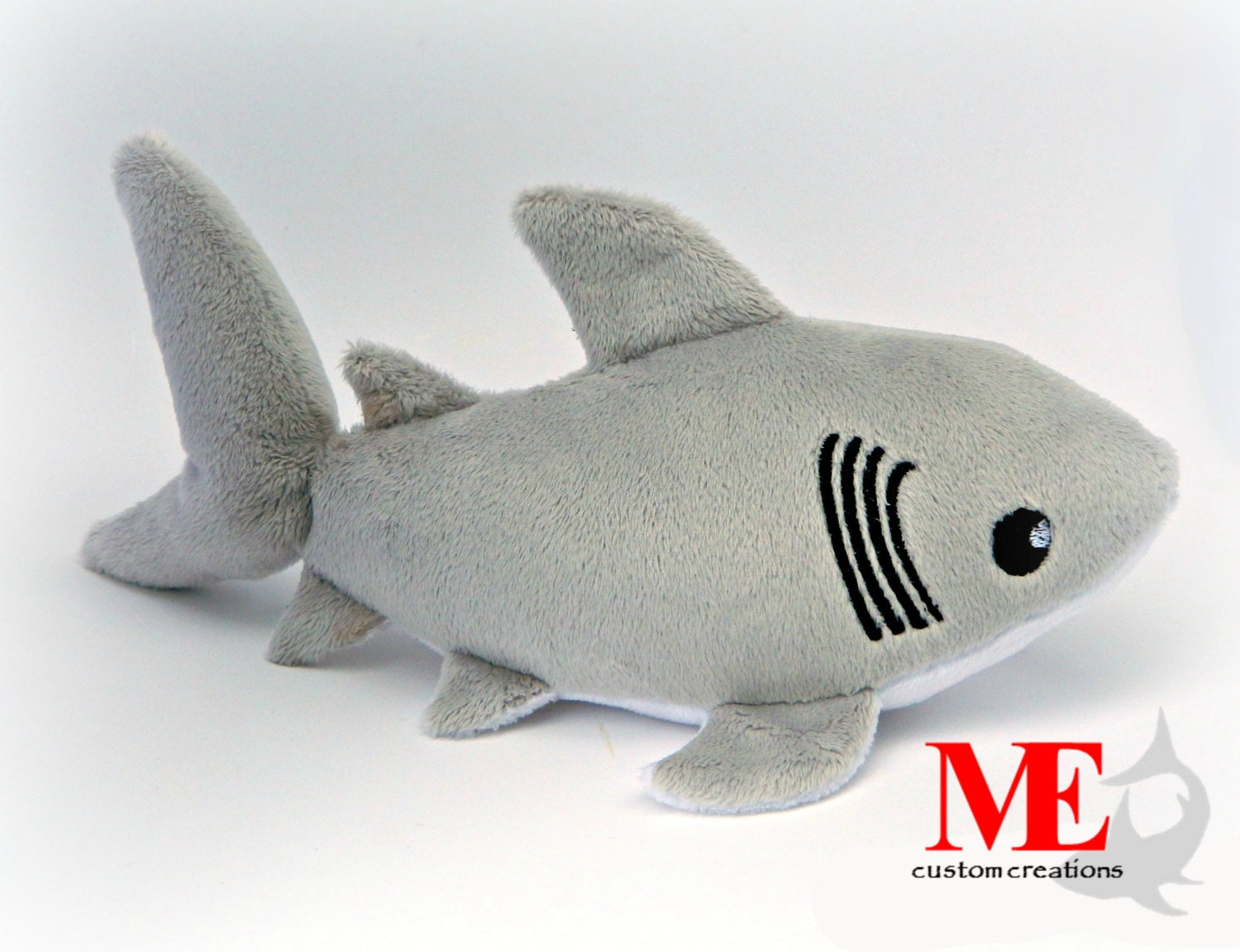 Great white shark plush custom color and size baby blue for Life size shark plush