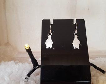 Penguin earrings in sterling silver