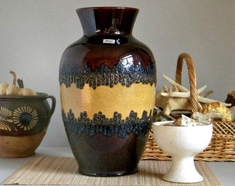 Vintage BAY KERAMIK 70-41 Large Fat Lava Glaze Floor Vase, West German Pottery, Mid Century Modern Retro 70's Home Decor