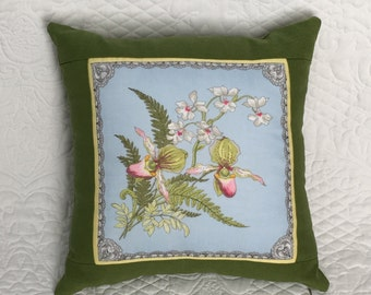Hanky Pillow Featuring Lady Slipper Orchid and Fern Theme