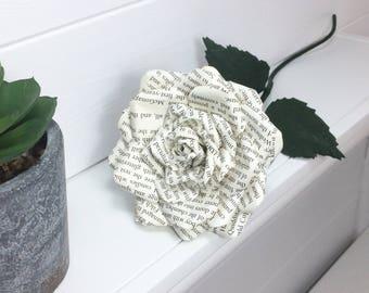 Harry Potter Paper rose single stem made from preloved book. UK, gift, weddings, 1st wedding anniversary,  birthday, valentine's, love.