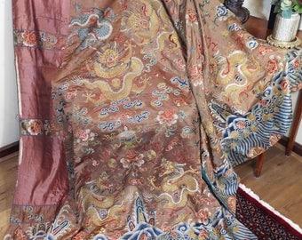 Antique Chinese Daoist Priest Dragon Robe Embroidered Metallic Silk Dragons