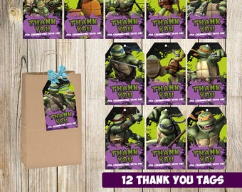 12 Ninja Turtles Thank you Tags instant download, Printable Ninja Turtles Thank you tags, Ninja Turtles Party Gift Favor Label Tag