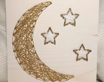 CUSTOM Moon and Stars String Art, Outer Space Bedroom Decor, Nursery Wall Art