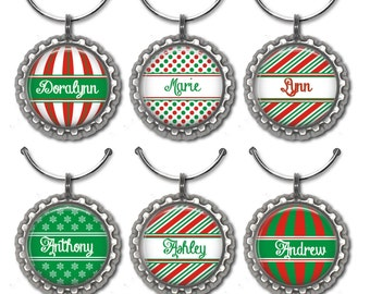 Christmas Wine Charms, Personalized Wine Charms, Holiday Wine Charms, Christmas Party Favors, Hostess Gift, Wine Accessories