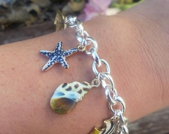 Nautical Sea Shell Charm Bracelet Fish Starfish Silver Beach Charms ~ Sale Expires Today
