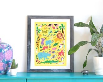 Animals poster - A3 print - recycled paper