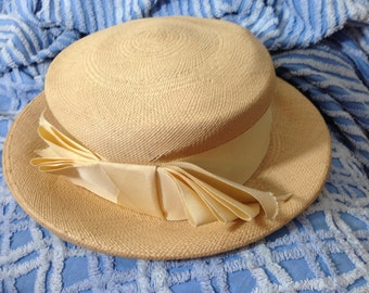 Vintage 50's/ 60's Mr. Joseph Hat / Wheat Straw / Derby / Garden Party /Fancy /Bucket /Victorian Style 2 inch Ribbon Bow