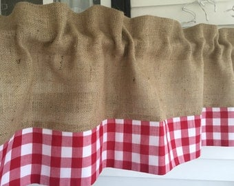 Burlap and Gingham Valance Curtain