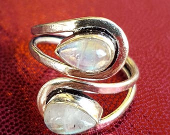 Teardrop Moonstone and Silver Handmade Adjustable Statement Ring