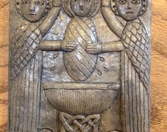 Brig-001 TAN - Saint Brigid's Baptism Celtic/Irish Religious Plaque