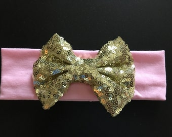 Sequin bow with headband