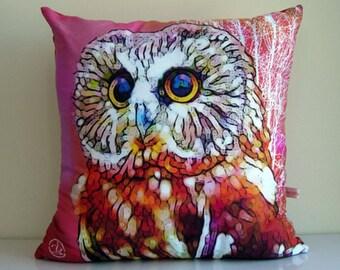 Owl cushion cover,OWL decorative pillow,bird,pink pillow,orange pillow,owl,eco friendly,organic cotton,decorative pillow,cushion,43cm x 43cm
