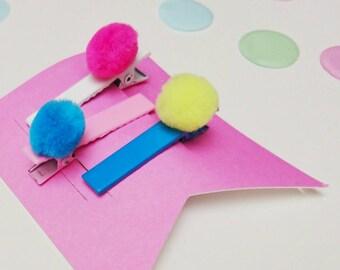 Pom poms alligator clip  - barrettes - hair accessory pink blue yellow neon  - girls