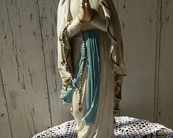 french antique/Statue plaster Virgin Mary / Our Lady/Lady
