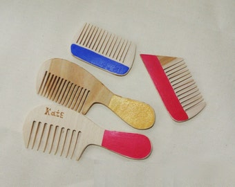 Set of 4 custom combs. Wood combs. Wooden combs. Decorative combs for kids.