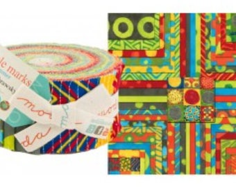 "Moda 2-1/2"" Jelly Roll strips from Simple Marks - Summer fabrics"