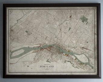 Portland Map : Vintage Map of Portland, Oregon - Circa 19th C. - Weathered Map