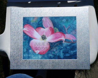 Pink dogwood watercolor print 11x14 with matte (8x10 print)