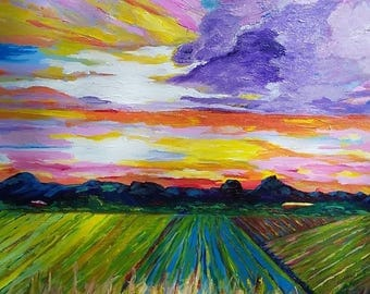 "SOLD Big Sky, Impressionist painting 24 x 24 x 1 1/2"" Gallery Wrapped Canvas"
