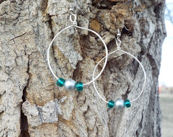 Handmade Earrings, Hoop Earrings, Teal Earrings, Pearl Earrings, Loop Earrings