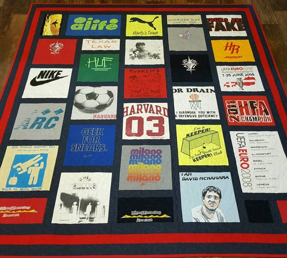 Tshirt quilt. Memory t-shirt quilt made from 9 to 49 by ...