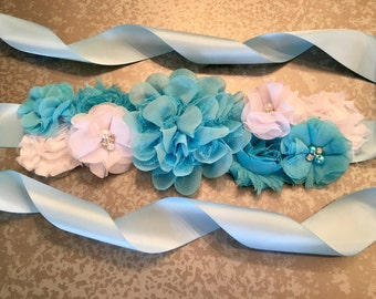 Baby Shower Sash, Blue and White Sash, Maternity Sash, Flower Girl, Flower Sash, Pregnancy Sash, belly band, belly sash, flower girl