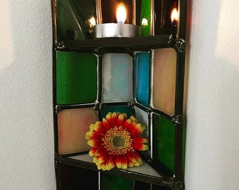 Stained Glass Corner Shelf