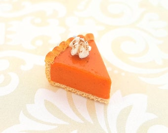 Handmade Pumpkin Pie Charm - Polymer Clay Food Jewelry - Miniature Food Jewelry - Miniature Pumpkin Slice