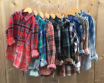 Size 8 kids flannel shirt boys or girls plaid button down shirts ombre dyed, Upcycled Clothing, back to school hipster clothes girl grunge