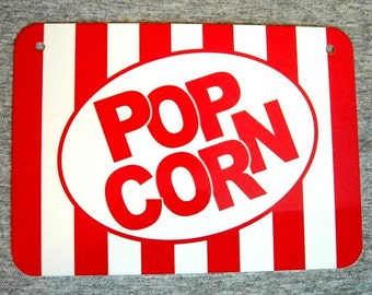 Metal Sign - POPCORN - carnival circus movie theater popping popped salt butter wall decor man cave