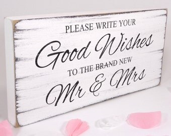 Free Standing White Vintage Wedding Table Sign / Plaque - Good Wishes - Shabby but Chic -Aged - Handmade