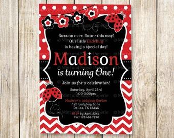 Ladybug Invitation Ladybug Party Birthday Invitations Ladybug Invite Ladybug Party Style MSP136