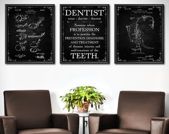 Attractive Dentist Gift   Set Of 3   Dental Office Decor  Patent Prints Wall Art Poster