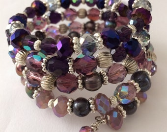 Purple Crystals Bracelet, Lavender memory wire Bracelet, Violet Plum Crystals bracelet, Ombre bracelet, gifts for her, coil wrap bracelet