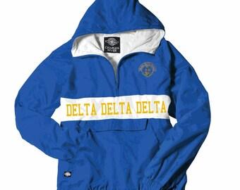 Delta Delta Delta Charles River Custom Stripe Greek Pullover Anorak (gold print shown)