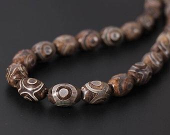 Smooth Old Tibetan Dzi Agate Oval Rice beads,Eye Pattern Tibetan Agate Drum shape Dzi Beads Antique pendant Necklace Jewelry