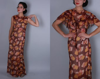 Vintage 1930s Dress | Autumnal Leaf Print Silk Chiffon Gown with Capelet | Medium