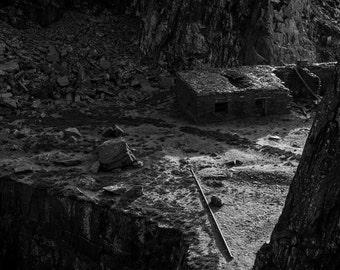 Landscape Fine Art Photo: Snowdonia Wales, Slate, Mines, Black, White,