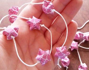 5' Raspberry Pink Garland: Origami Star Garland - Handmade Baby Shower Garland - Paper Garland - Mother's Day Decoration - Origami Garland