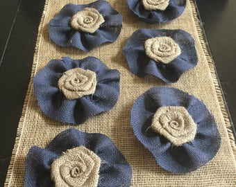 "Burlap Flower with Navy Blue Burlap Ruffle 4"" Wedding Venue Rustic Baby Boy Shower Decoration Table Cottage Chic"
