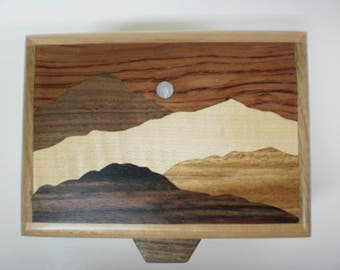 Handcrafted wood inlay mountain moonlight box-2