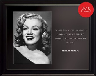 "Marilyn Monroe Photo, Picture, Poster or Framed Quote ""A Wise Girl Kisses But"" - High Quality Prints, Portrait, Inspirational Famous Quotes"